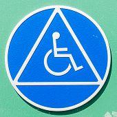 Closeup Of A Disabled Sign