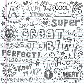 stock photo of praise  - Great Job Super Student Praise Hand Lettering Phrases Back to School Sketchy Notebook Doodles - JPG