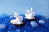 Two White Bunnies Floating At Sea With Easter Eggs.