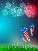 4th of July Amerikaanse Independence Day viering achtergrond met fire crackers.
