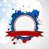 4th of July, American Independence Day background with blank circle frame for your message on grungy flag colors background.