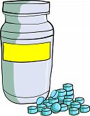 Bottle of medicinal pills Blue pills scattered around the bottle
