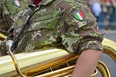 stock photo of army cadets  - bersagliere with her musical instrument in a parade during the national meeting - JPG