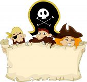 Illustration of Pirates holding a Blank Map