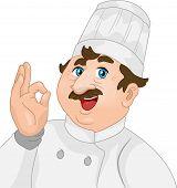 Ilustración de un Chef varón dando una señal OK