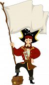 stock photo of plunder  - Illustration of a Male Pirate stepping on a Treasure Chest while holding a Blank Pirate Flag - JPG