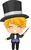 Illustration of Cute Little Boy Magician with Magic Wand