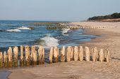 Baltic coast with wooden breakwaters