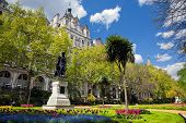 Victoria Embankment Gardens in London, the UK. Sunny sky
