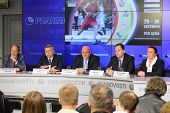 MOSCOW - AUGUST 15: Alexander Gomelsky speaks at press conference before international basketball to