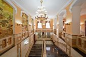 MOSCOW - AUG 3: Inner stairways and halls of Central House of culture of railwaymen, August 3, 2012,