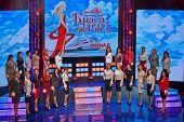 MOSCOW - AUG 3: Girls-participants of final of national competition Beauty of Russian Railways on stage of Central House of culture of railwaymen, August 3, 2012, Moscow, Russia.
