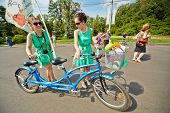 MOSCOW - AUG 5: Participants of cycle parade Lady on Bicycle at Sokolniki park, August 5, 2012, Mosc