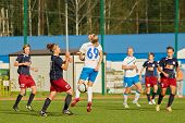 MOSCOW - AUG 23: Struggle for ball on field during match between female teams CSP Izmailovo (Moscow)