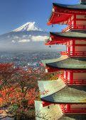 Pagoda and Fuji in Japan.