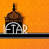 Concept for Muslim community holy month Ramadan Kareem with intricate lamp and text Iftar on abstract orange background.