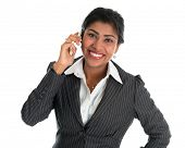 Indian woman talking on phone. Smart Indian business woman on the phone smiling happy isolated on wh