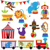 stock photo of clowns  - Vector Set of Cute Circus Themed Image  - JPG