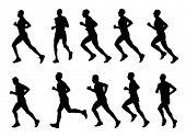 10 high quality marathon runners silhouettes