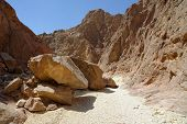 Scenic boulders in the desert canyon Israel