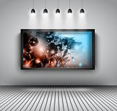 stock photo of exposition  - Modern interior art gallery frame design with spotlights - JPG