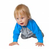 Inquisitive Child Crawling On The Floor