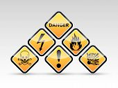 stock photo of biological hazard  - Isolated vector orange Danger sign collection with black border reflection and shadow on white background - JPG