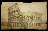Colosseum Painted By Ink On Old Paper, Isolated On Black.