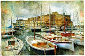 artistic picture in painting style - boats in Naples port in front of castle Uovo