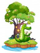 Illustration of a crocodile in an island reading on a white background
