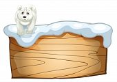 Illustration of a white polar bear above the wooden signboard on a white background