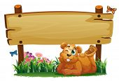 Illustration of a cute bear under the empty wooden signboard on a white background