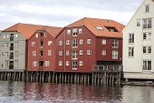 Wooden houses in Trondheim, Norway.