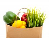 image of reusable paper shopping bag  - Paper shopping eco bag with green grass - JPG