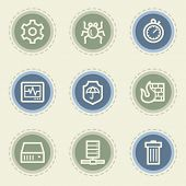 Internet security web icon set, vintage buttons