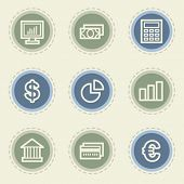 Finance web icon set 1, vintage buttons