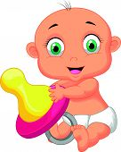 Baby cartoon holding pacifier