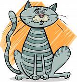 Tabby Gray Cat Cartoon Illustration