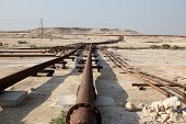 picture of bahrain  - Oil and gas pipeline in the desert of Bahrain Middle East - JPG