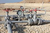 stock photo of bahrain  - Oil pipeline in the desert of Bahrain - JPG