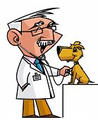 picture of auscultation  - Isolated illustratio of Veterinary auscultating a dog - JPG