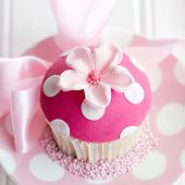 Cupcake decorated with a pink fondant flower