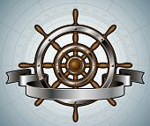 foto of ship steering wheel  - Ship steering wheel with banner - JPG