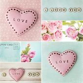 valentines day collage with hearts