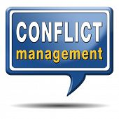 stock photo of conflict couple  - conflict management in business at work or between couple with different interest solve the problem and find resolution - JPG