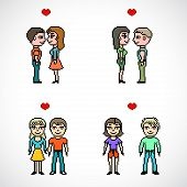 set of couples of people pixel art