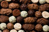 picture of truffle  - top view of various chocolate truffles - JPG