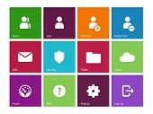 User Account icons on color background.