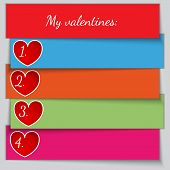 Vector multicolor paper enumerated valentine list