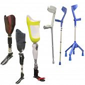stock photo of artificial limb  - artificial limbs and invalid walking sticks under the light background - JPG